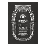 "chalkboard floral mason jar rustic baby shower 5"" x 7"" invitation card"