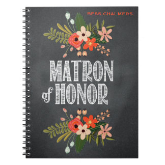 Chalkboard Floral Matron-of-Honor Notebooks