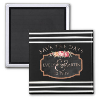 Chalkboard Floral Stripes Wedding | Save the Date Magnet