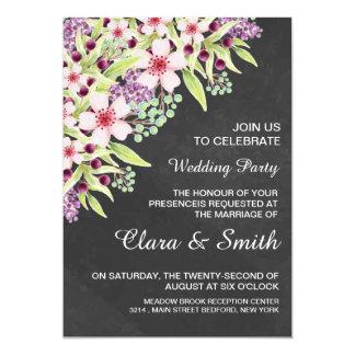 Chalkboard Floral Wedding Invitation