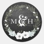Chalkboard Floral Wedding Monograms Ampersand Round Sticker
