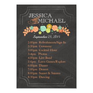 Chalkboard Floral Wedding Program ITINERARY CARD