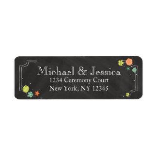 Chalkboard Floral Wedding Return Address Label