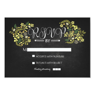 "chalkboard floral wedding RSVP cards 3.5"" X 5"" Invitation Card"