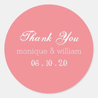 Chalkboard Flourish Pink Rustic Wedding Thank You Round Sticker