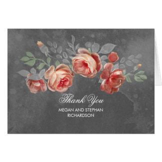 Chalkboard Flowers Rustic Wedding Thank You Card
