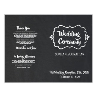 Chalkboard Folded Wedding Program