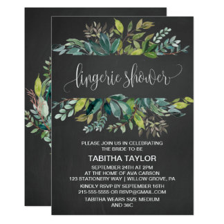 Chalkboard Foliage Lingerie Shower Card