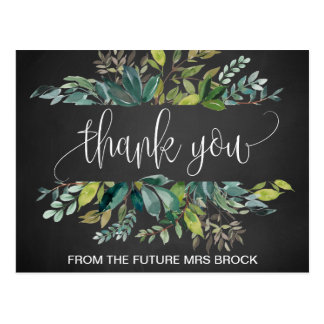 Chalkboard Foliage Thank You Postcard