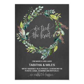 Chalkboard Foliage Wreath Elopement Announcement