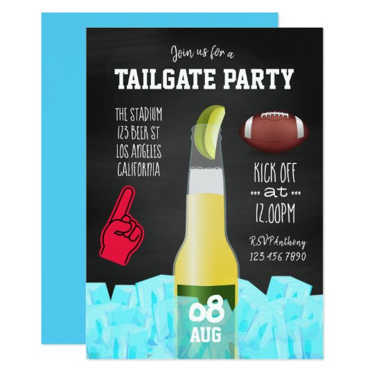 Chalkboard Football Tailgate Party Invitation