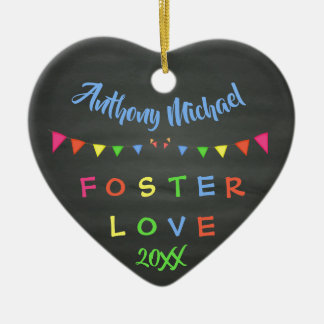 Chalkboard Foster Love - Banners Custom Name Date Ceramic Ornament