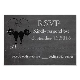 "Chalkboard funny cat love couple wedding RSPV 3.5"" X 5"" Invitation Card"