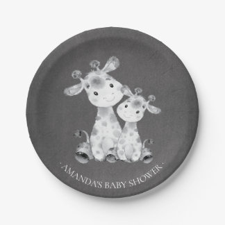"Chalkboard Giraffe Girls Baby Shower 7"" Plate"