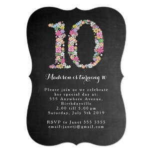 girls 10th birthday invitations announcements zazzle ca