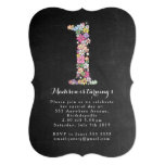 "Chalkboard Girls Floral 1st Birthday Party Invite 5"" X 7"" Invitation Card"