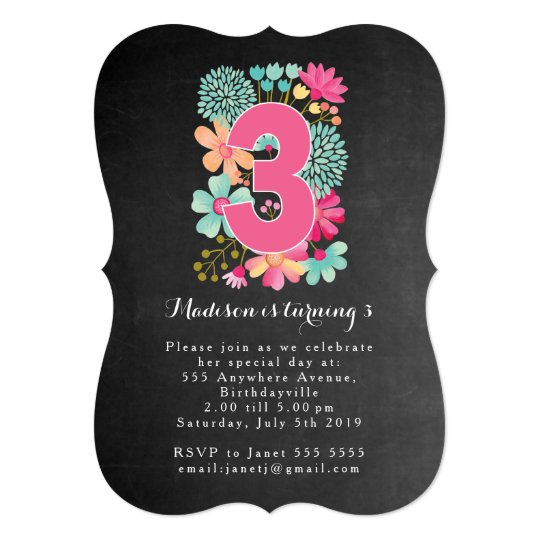 Chalkboard Girls Floral 3rd Birthday Party Invite