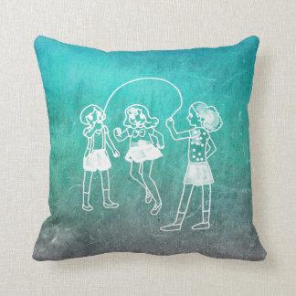 Chalkboard Girls Skipping Rope Doodles Mint Blue Throw Pillow