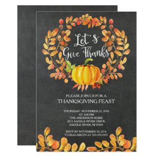 Chalkboard Give Thanks PumpkinThanksgiving Dinner Card