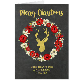 Chalkboard Gold Deer Wreath Christmas Teacher Card