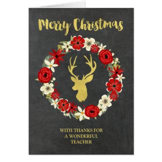 Chalkboard Gold Deer Wreath Christmas Teacher Greeting Card