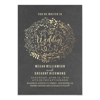 Chalkboard Gold Floral Bouquet Wedding Card