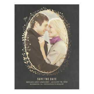 chalkboard gold floral frame photo save the date postcard