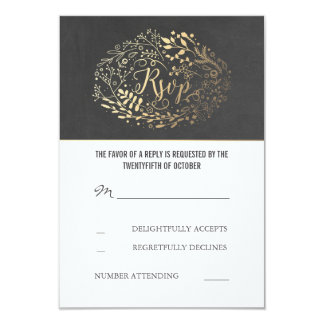 Chalkboard Gold Floral Wedding RSVP Cards