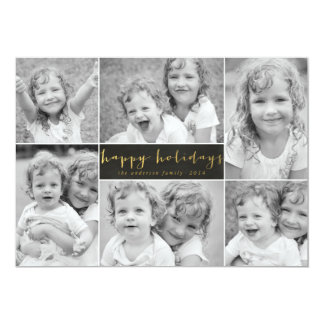 Chalkboard Gold Foil Holiday Photo Card Collage