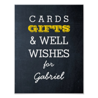 Chalkboard Gold Gift Table Sign Poster