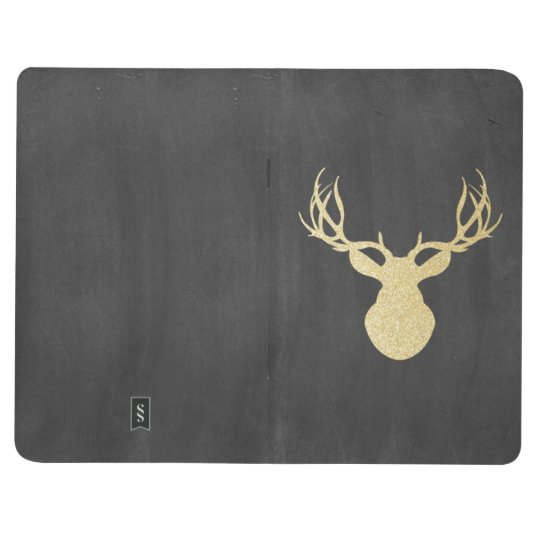 Chalkboard Gold Glitter Deer Journal