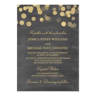Chalkboard Gold Glitter Wedding Invitations
