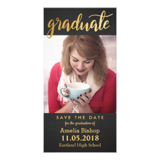Chalkboard Gold Graduate Typography Save The Date Card