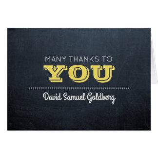 Chalkboard Golden Bar Mitzvah Thank You Note Card