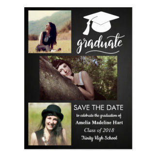 Chalkboard Graduate | Save The Date Three Photo Postcard