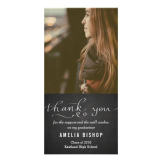 Chalkboard Graduate Thank You Typography Photo Card
