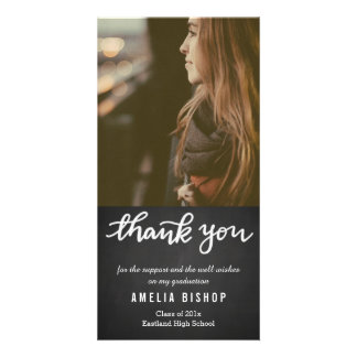 Chalkboard Graduate Thank You Typography Photo Cards