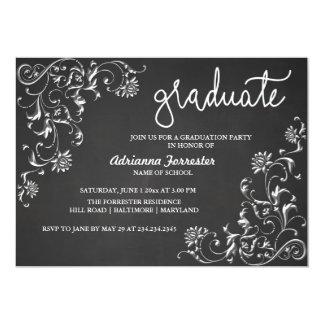 Chalkboard Graduate Typography Damask Pattern Card