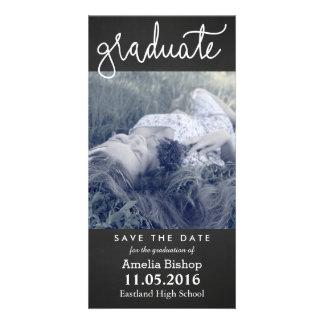Chalkboard Graduate Typography Save The Date Custom Photo Card