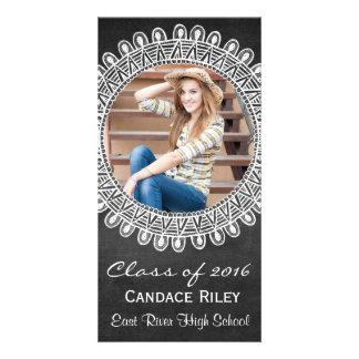 Chalkboard Graduation Announcement Tribal Mandala Customized Photo Card