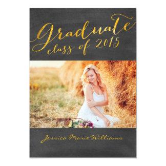 Chalkboard Graduation Party   Gold Foil Card