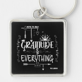 Chalkboard Gratitude is Everything Note to Self Keychain