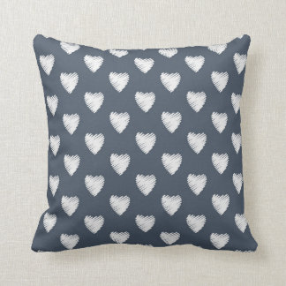 Chalkboard Gray and Hearts Throw Pillow
