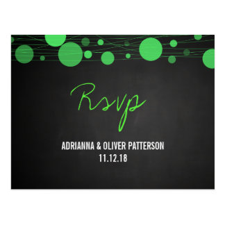 Chalkboard Green Lanterns Rustic Wedding RSVP Postcard