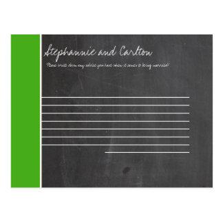 Chalkboard Green Wedding Advice Card Postcard