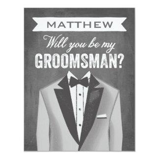 "Chalkboard Groomsman | Groomsman 4.25"" X 5.5"" Invitation Card"