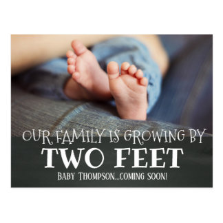 Chalkboard Growing by Two Feet Adoption New Baby Postcard