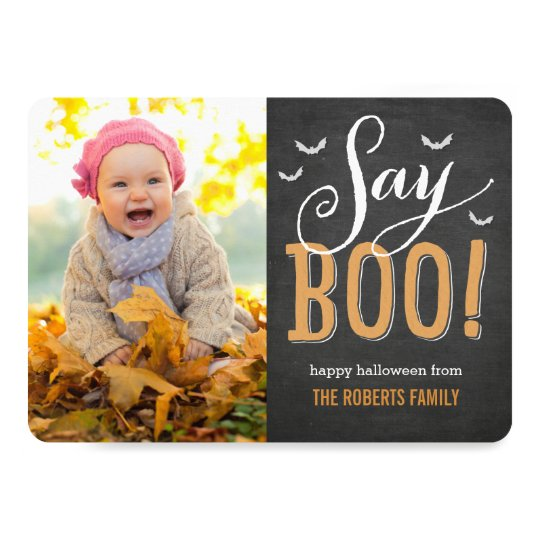 Chalkboard Halloween Photo Card