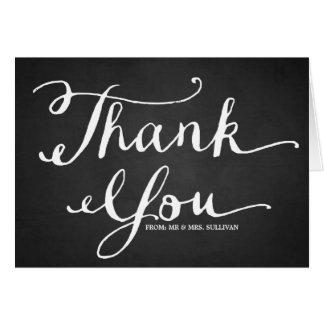 Chalkboard Hand Lettering Overlay Thank You Card