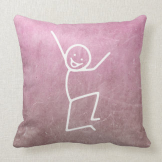Chalkboard Happiness Doodles Pink Gray Throw Pillow